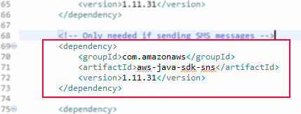 Maven POM entry for aws-java-sdk-sns dependency
